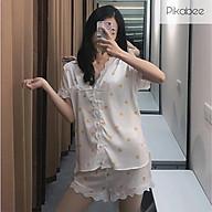 Bộ Ngủ, Bộ Mặc Nhà Pyjama Lụa Cao Cấp Phối Ren thumbnail