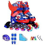 Bộ Giày trượt Patin trẻ em DS Người Nhện có ánh sáng (Kèm bộ phụ kiện) thumbnail