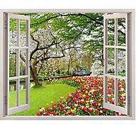 Tranh dán tường 3d cửa sổ hoa tulip 2 CS91 - 120x170 cm thumbnail