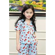 Đồ ngủ Pijama bé gái màu xanh nước biển hình quả dâu đỏ thumbnail
