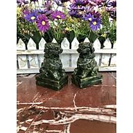 Cặp Kỳ Lân phong thủy đá Seperentine ( đá ngọc Ấn Độ ) trang trí bàn làm việc - Cao 9 cm thumbnail