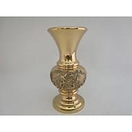 Bình lọ bông miệng xòe cao 29,5cm bằng đồng nặng sắc nét cao thumbnail