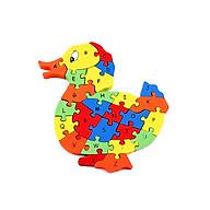 Tranh Ghép Gỗ Cần Cẩu tác dụng 5 trong 1 tư duy lắp ghép, học chữ, học số, học màu, học nhận biết con vịt thumbnail