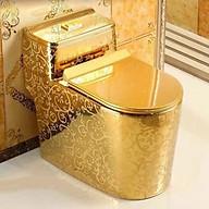 Bồn cầu màu vàng Hoàng Gia họa tiết chìm CHINOX thumbnail