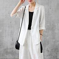Áo vest blazer nữ trắng một lớp tay lỡ túi bổ cơi. thumbnail