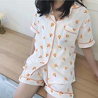Bộ đồ pijama chất xô cam siêu xinh tặng kèm dây buộc tóc scrunchie thumbnail