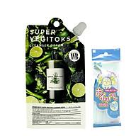 Sữa rửa mặt thải độc rau củ Wonder Bath Super Vegitoks Cleanser Dạng Gói 30ml (Màu xanh) + tặng kèm 1 túi lưới rửa mặt tạo bọt thumbnail