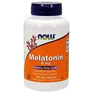 NOW Melatonin 5mg - MẤT NGỦ CHO TRÁI MÚI GIỜ, Bổ Sung Hormone Tự Nhiên Melatonin Giúp Tạo Giấc Ngủ Một Cách Tự Nhiên Chai 180 Viên thumbnail