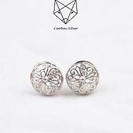Khuyên Tai Bạc Nữ CaoBac Silver Chất Liệu Bạc Thái Tròn Tim Trắng TM194 thumbnail