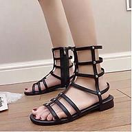 Giày sandals chiến binh đan chéo siêu ngầu cổ cao có dây kéo (Đen) thumbnail