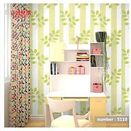 Giấy dán tường rộng 45cm x 5m dài ( có sẵn keo ) - lá xanh nền sọc xanh lá ELL253 thumbnail