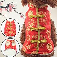 Áo Tết Cho Chó Mèo Kiểu Trung Hoa Vải Gầm Màu Đỏ Với Hoa Văn Vàng Bắt Mắt - Sp000503 thumbnail
