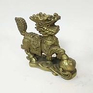 Tượng kỳ lân dẵm cầu bằng đồng vàng thumbnail