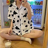 Set bộ ngủ BÒ SỮA freesize unisex phom rộng dáng suông - Set bộ ngủ nam nữ mặc nhà thoáng mát siêu rẻ thumbnail