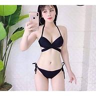 Bikini 2 mảnh áo tắm áo bơi nữ gọng đen quần tam giác sexy mặc đi biển đi bơi đẹp ( 100% như hình) thumbnail