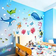 Decal dán tường chất liệu PVC loại 1 dày dặn, sắc nét, trang trí lớp mầm non, phòng cho bé, phòng ngủ- Đàn cá san hô- mã sp XL7225 thumbnail
