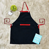 Tạp dề yếm đen phối đỏ mắt cáo chất vải kaki dành cho Nam nữ phục vụ , đầu bếp thumbnail