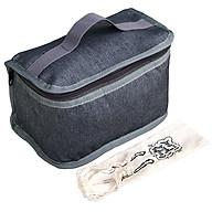 Túi Đựng Hộp Cơm Giữ Nhiệt Văn Phòng Kích Thước Nhỏ Màu Xanh Xám Dạng Hộp Có Dây Khóa Kéo Tặng Túi Muỗng Nĩa (Lunch Bags, Box) thumbnail