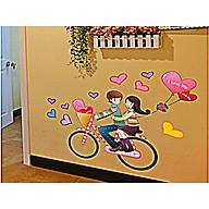 Decal dán tường trang trí quán cafe, văn phòng- Xe đạp tim- mã sp DAY709 thumbnail