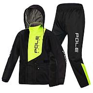 Áo mưa 2 lớp cao cấp Pole racing - Đen phối xanh - Size 2XL 85-95kg thumbnail