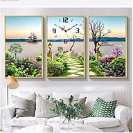Tranh treo tường, tranh đồng hồ NT151 bộ 3 tấm ghép thumbnail