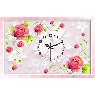 Tranh thêu chữ thập 3D đồng hồ HOA HỒNG 67x45cm_ tự thêu thumbnail
