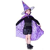 Set 2 chi tiết Mũ và choàng halloween lấp lánh 7 sắc cho bé gái bé trai hóa trang phù thủy thumbnail