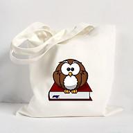 Túi Vải Đeo Vai Tote Bag In Hình Cú và sách - DV018 thumbnail