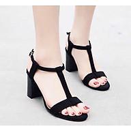 Giày nữ, giày cao gót nữ thời trang nữ da nhung mềm mịn cao 7 cm thiết kế dây dọc đơn giản mà tinh tế, quai cài ngang YNCG66 thumbnail