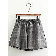 quần short vải ống rộng kẻ caro có dây rút lưng thumbnail