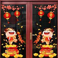 Decal trang trí Tết Tân Sửu- Trâu vàng hũ tiền dán cửa- mã sp QR209126 thumbnail