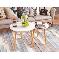 Bàn trà, bàn sofa tròn trắng 60x50, bàn cafe phòng khách, bàn đọc sách, bàn gỗ MDF chất lượng cao thumbnail