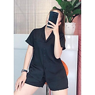 Bộ Mặc Nhà Nữ NHIHOUSE71 Pijama Lụa Satin Quần Ngắn Tay Ngắn Trơn Viền Ren Freesize 45-55kg thumbnail