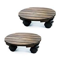 Combo 2 Đế lót chậu cây có bánh xe Tròn Đen chịu lực 80kg - Chất liệu Gỗ tràm bông vàng thumbnail