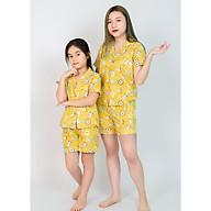 Bộ đồ Pijama mẹ và bé màu vàng hình thú thumbnail
