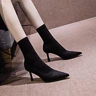Giày boot nữ cổ cao gót mảnh da lộn cao cấp - Giày boot cao gót 8cm - Giày boot da lộn cổ cao 16cm - Linus LN295 thumbnail