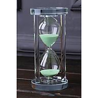 Đồng hồ cát trang trí hình trụ pha lê thủy tinh sáng tạo 15 phút thumbnail