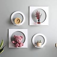 Set 4 chiếc kệ trang trí dán tường gỗ nhựa Picomat hình vuông tròn thumbnail