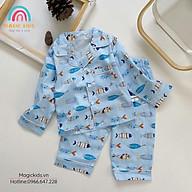 Bộ đồ ngủ Pyjama dài tay cotton họa tiết dễ thương cho bé BR20017 thumbnail