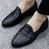Giày Da Nam Giá Rẻ Chất Liệu Bò 100% Đế Cao Su Đúc Mã G017-1 Màu Đen thumbnail