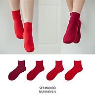 Set hộp 4 đôi tất nữ cổ cao chất liệu cotton cao cấp,họa tiết gam đỏ chuyển màu cute dễ thương, hàng chính hãng NICESOKS - hộp đẹp cao cấp phù hợp làm quà tặng - NS19183FL-5 thumbnail