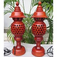 Bộ đèn thờ bằng gỗ xà cừ cao cấp cao 36cm thumbnail