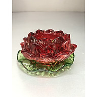 Chân đế nến thuỷ tinh hoa sen đỏ lá xanh KH12309 thumbnail