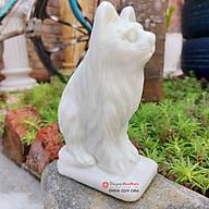 Tượng mèo đá tuổi mão 12 con giáp phong thủy đá trắng xanh 12cm đá Non Nước thumbnail