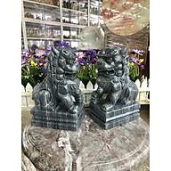 Cặp Kỳ Lân phong thủy gác cổng đá cẩm thạch vân đen - Cao 20 cm thumbnail