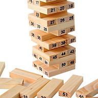 Bộ đồ chơi rút gỗ, đồ chơi gỗ thông minh, trò chơi rút gỗ Wiss Toy 54 thanh gỗ tự nhiên, game rút gỗ kèm 4 xúc xắc Tặng Kèm Móc Khóa 4Tech. thumbnail