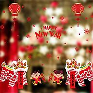 Decal dán tường trang trí Tết chào xuân mới- Hai bé múa lân- mã sp DSK9254 thumbnail