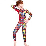 Bộ bơi liền thân tay dài chống nắng cho bé trai cao cấp màu đỏ khủng long thumbnail