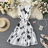 Váy sát nách GINDY thanh lịch thêu hoa đơn giản cổ tròn thắt eo váy V0321005 thumbnail