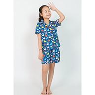 Đồ bộ mặc nhà pijama bé gái màu xanh cá voi nhỏ thumbnail